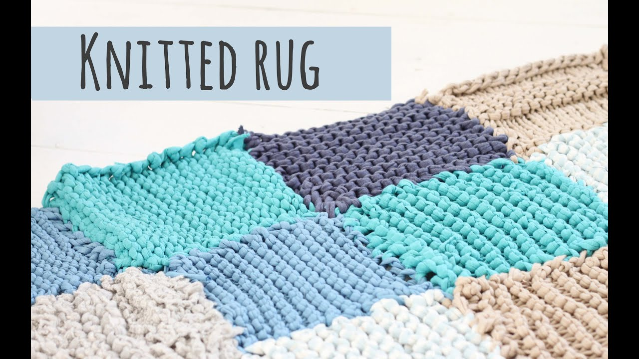 Knitted rug tutorial make your own rug youtube for Floor knitting
