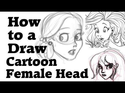 How to draw a cartoon female head thumbnail