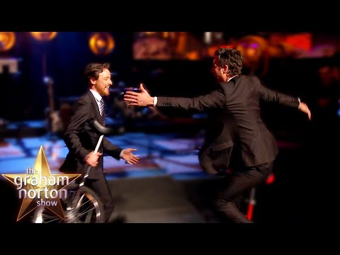 James McAvoy AND Mark Ruffalo Ride Unicycles Round the Studio - The Graham Norton Show