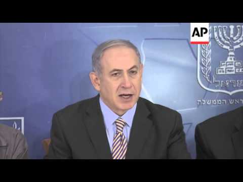 Israeli PM Netanyahu says Israel will only return to talks in Egypt if rocket fire from Gaza stops