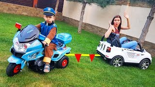 Funny Baby Paw Patrol Policeman Car broke down Ride On POWEL WHEEL Bike and TOWING