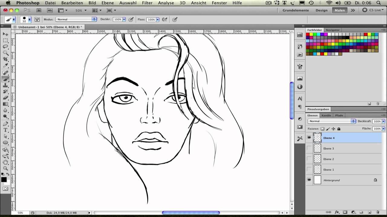 Frauen zeichnen (2): Der Kopf Frontal (Teil 3/3) - YouTube