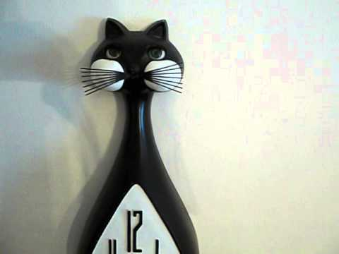 Vintage 60's Spartus Cat Wall Clock with Moving Eyes and ...