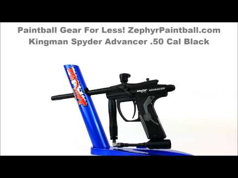 Kingman Spyder Advancer 50 cal Paintball Gun Black ZephyrPaintball.com 360 View PB KING 50ADVNCBLK