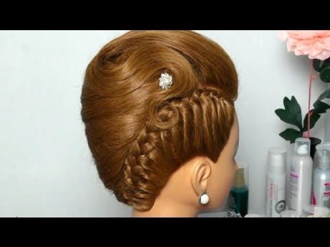 French twist hairstyle for long medium hair. Вечерняя прическа: Ракушка с косой.