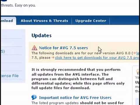 AVG Anti-Virus Update Problem - download updates manually