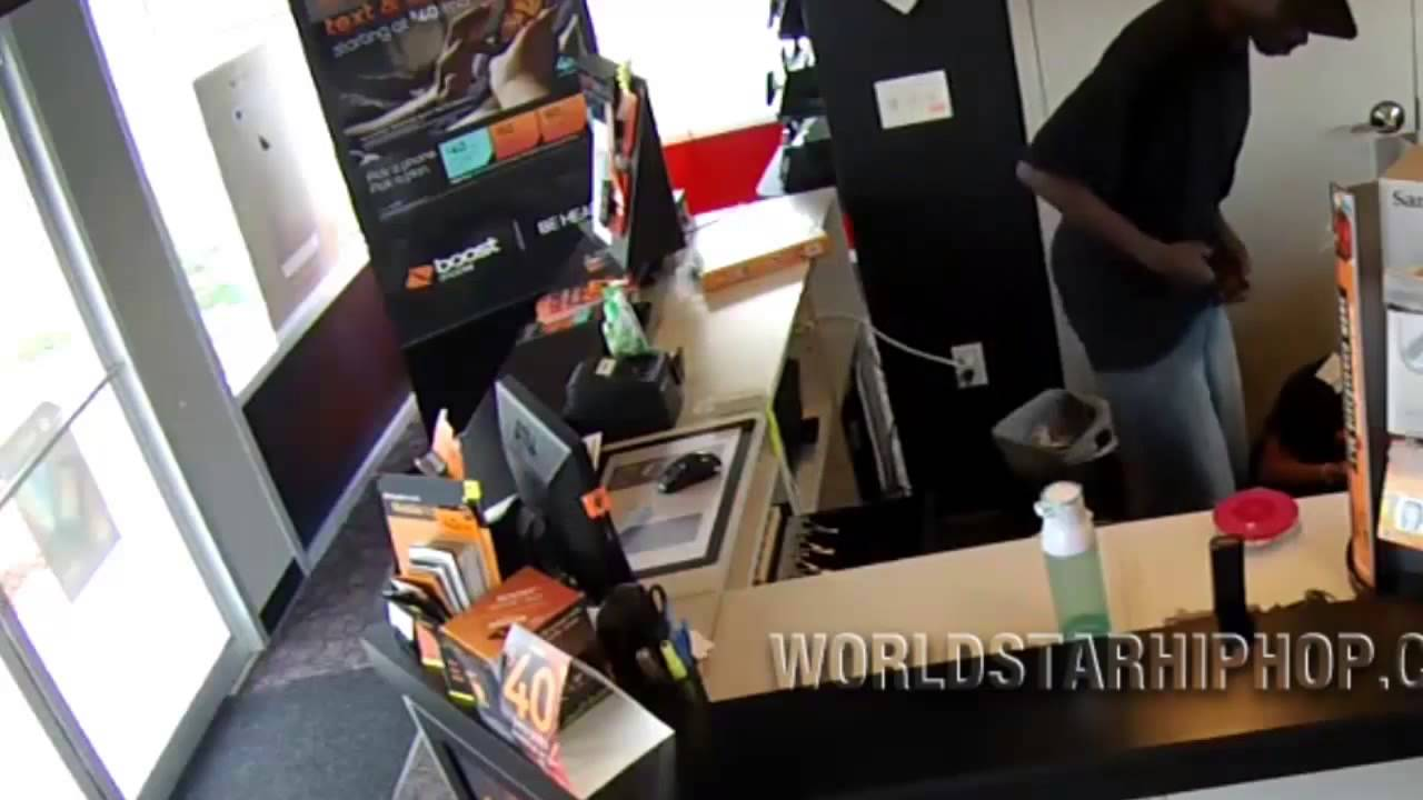 He Punched Her Soul Out  Guy Lays Out A Pregnant Woman At Boost Mobile Store!