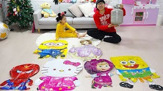 여러가지 캐릭터 풍선 점핑온더베드 Five little Babies Jumping on the Bed Good Song for kids Educational Videos