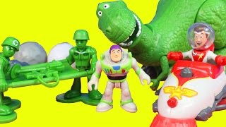 Imaginext Disney Pixar Toy Story Woody Spaceship Walking Rex Army Soldiers Buzz Lightyear