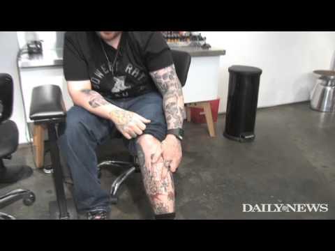 Celeb tattoo artist Bang Bang shows off his fame leg
