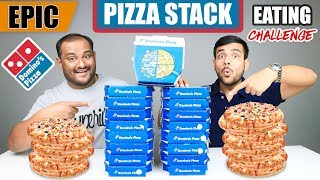 EPIC DOMINOS PIZZA STACK EATING CHALLENGE | Pizza Slice Stack Eating Competition | Food Challenge