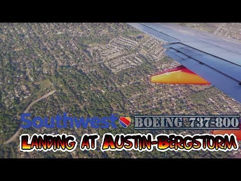Southwest Airlines landing at Austin-Bergstrom International Airport