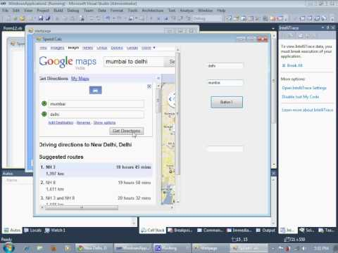 Visual Studio 2010 Google Maps Direction Search Using textboc..no use of API and all!! part 1