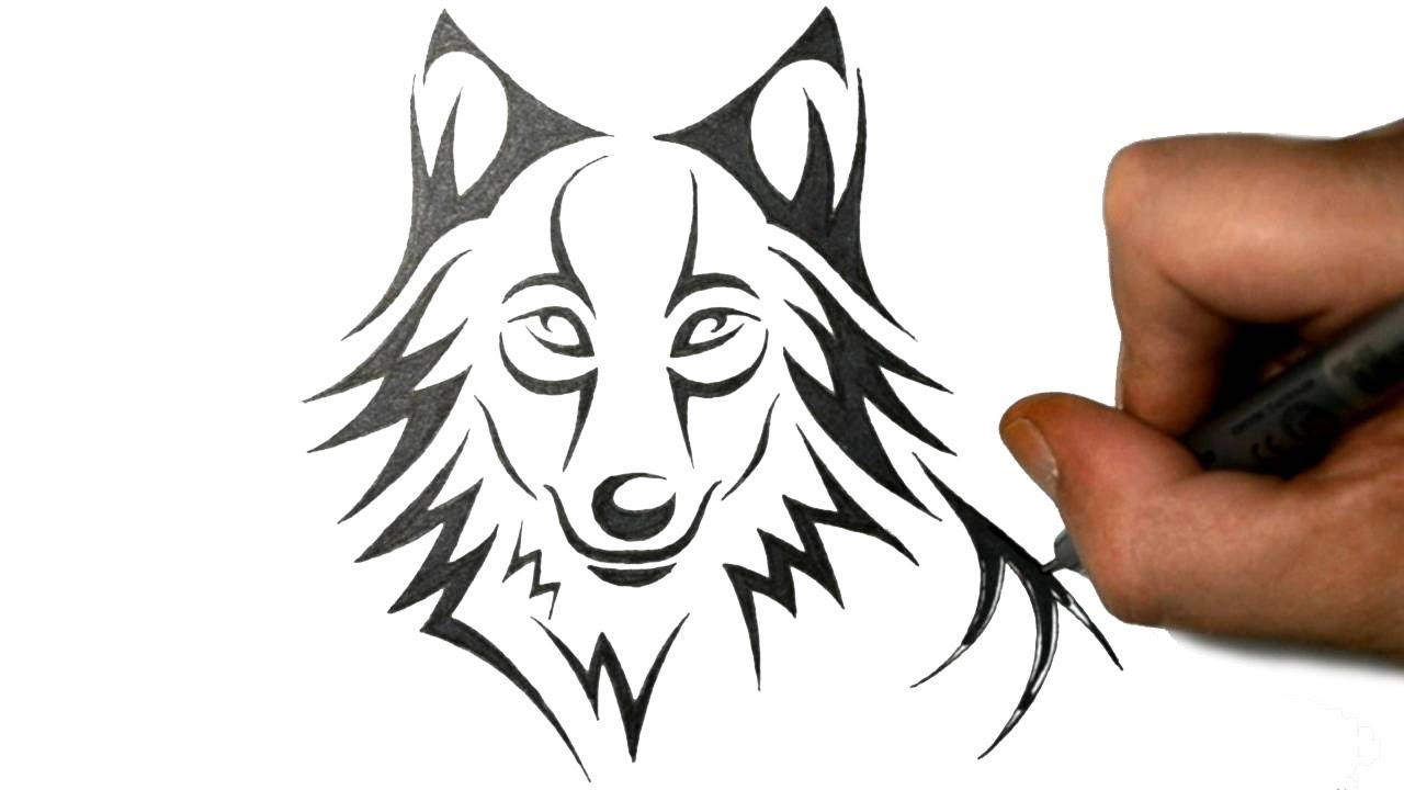 How to Draw a Cute Wolf in a Tribal Style - YouTube