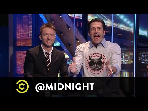 Jon Hamm Shares His Love of Cats with Nikki Glaser, John Mulaney and Judah Friedlander on @midnight