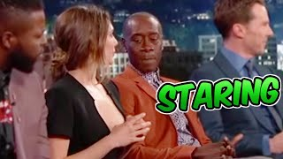 Don Cheadle Caught Staring at Elizabeth Olsen