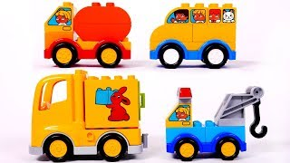 Delivery Truck School Bus Cement Mixer and Tow Truck Building Blocks Toys for Kids