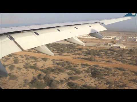 Oman Air Flight WY102 landing at Muscat's Seeb Inernational Airport in Oman