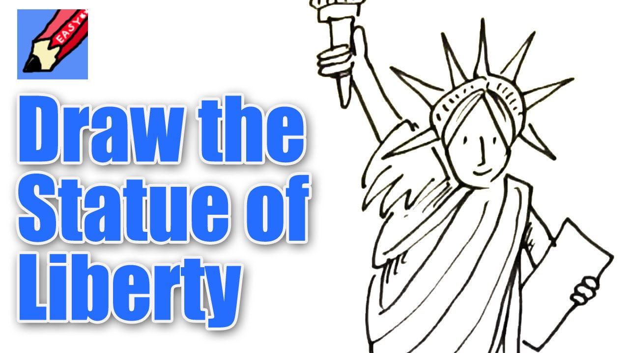 Simple Kids Line Drawing Of The Stue Of Liberty