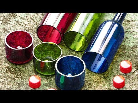 Easy wine bottle cutter with perfect edges how to video for Glass bottle cutting ideas
