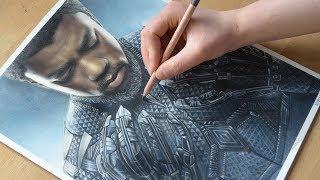 Drawing BLACK PANTHER - Marvel - SpeedDrawing | Nimauke
