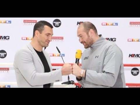 TYSON FURY v WLADIMIR KLITSCHKO HEAD TO HEAD - TURNS INTO OPEN CONVERSATION BETWEEN PAIR IN COLOGNE