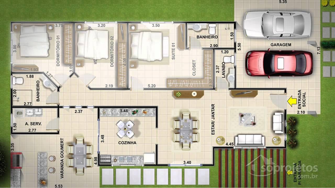 Projetos de casas t rrea com varanda gourmet e pergolado for Modelo de casa para 4 personas
