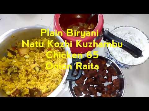 Sunday Lunch special Episode 7 Plain biryani Arachuvitta Nattu Kuzhambu Chicken 65 Onion Raita