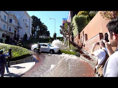 Car Share San Francisco >> Lombard Street, San Francisco - Water Hydrant Accident - YouTube