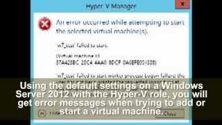 Windows Server 2012 - hyper-v error messages