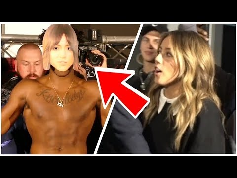 Chloe Bennet's Reaction To KSI Wearing A Mask Of Her in The KSI VS. LOGAN PAUL [OFFICIAL WEIGH IN]