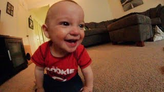 Baby Laughs Hysterically At Dad Throwing Toys!