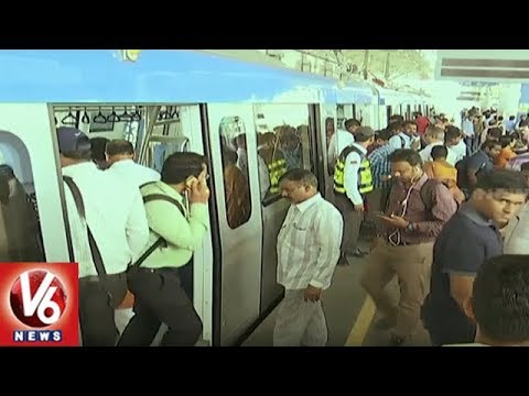Special Report On Hyderabad Metro Rail Passengers Rush | V6 News