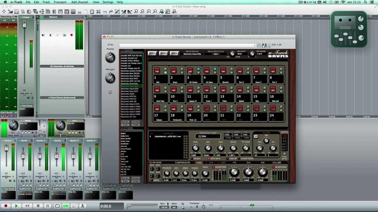 nTrack Studio Multitrack Recorder - Drums & Recording audio - YouTube