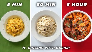 5 Min vs. 50 Min vs. 5 Hour Pasta (ft. Binging With Babish) • Tasty
