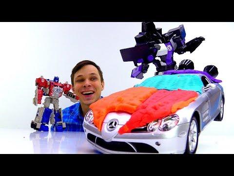 Фёдор прокачал машину для Оптимуса! Игры с роботами Трансформерами.