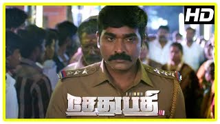 Sethupathi Movie Mass Scenes | Vijay Sethupathi arrests Vela Ramamoorthy | Remya Nambeesan