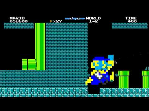 Mari0 cheats: Giant Mario and Minecraft pickaxe