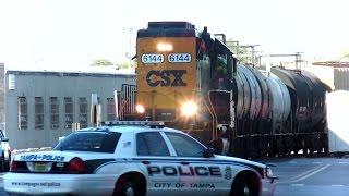 CSX Street Runner Train Blows Horn Over 100 Times Through City