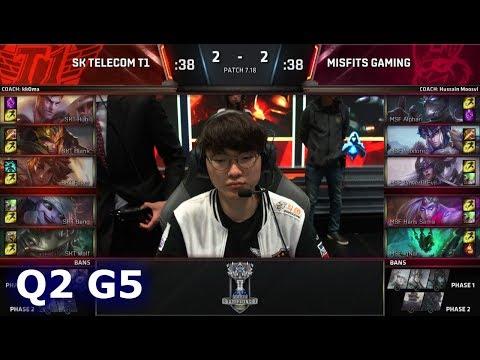 SK Telecom T1 vs Misfits | Game 5 Quarter Finals S7 LoL Worlds 2017 | SKT vs MSF G5