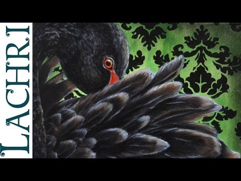 Speed Painting Black Swan in oil over acrylic - Time Lapse Demo by Lachri