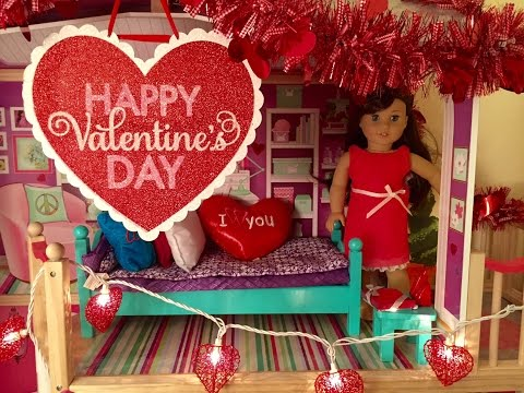 Decorating American Girl Doll House For Valentine's Day