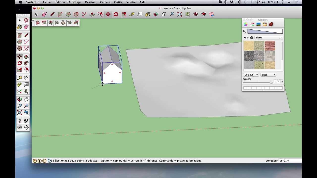 Tuto sketchup modeler un terrain avec l 39 outil bac for Outil miroir sketchup