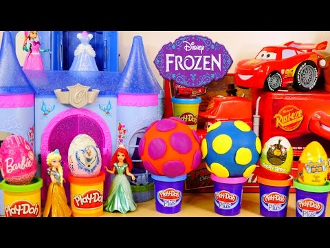SURPRISE EGGS Disney Frozen Spongebob Cars Play Doh Barbie Angry Birds Toy Story Zaini Egg