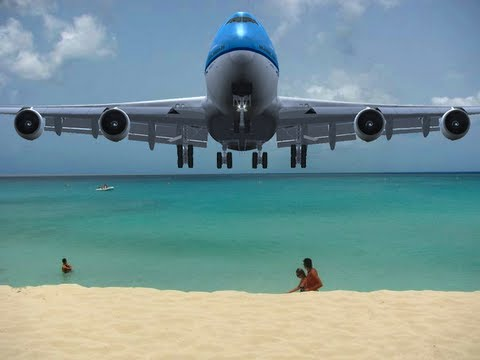 KLM 747 Visits St. Maarten (Watch Your Head!)