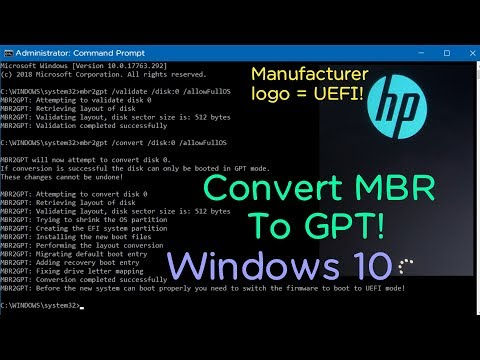 Convert MBR to GPT on Windows 10 without reinstalling Windows!