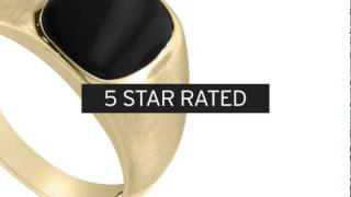 Cushion Cut Black Onyx Men's Ring Crafted In Solid Yellow Gold - SuperJeweler.com