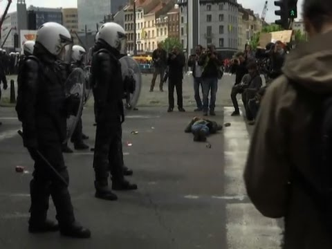 Raw: Belgians Clash at Anti-Austerity Protest