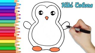 How to Color Cute Penguin Part 2 | Teach Drawing for Kids and Toddlers Coloring Page Video