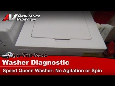 Washer Diagnostic & Repair  - No Agitation or Spin - SpeedQueen. Amana.  AWN412SP111TW01